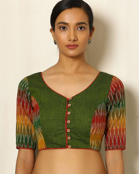 Handwoven Ikat Cotton Blouse By Indie Picks ( Green )