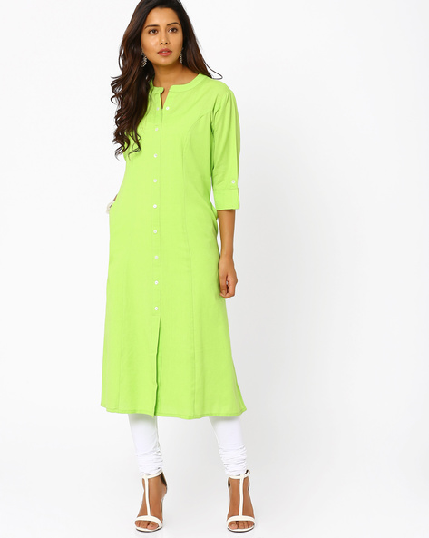 Cotton Dress With Front Button Placket By Khimsariya ( Limegreen )