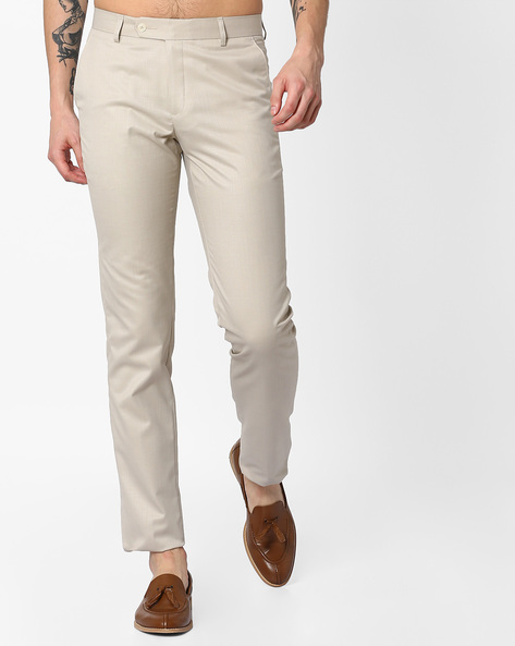 Flat-Front Slim Fit Trousers By British Club ( Cream )