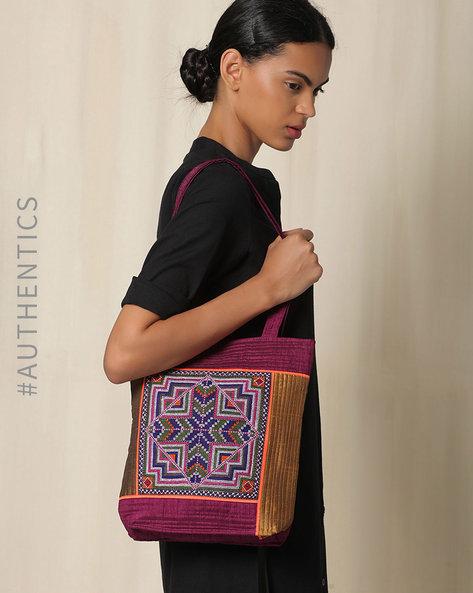 Kutch Jat Garasiya Hand Embroidery Handbag By Indie Picks ( Purple ) - 460034800001