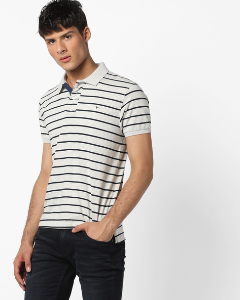 Striped High-Low Polo T-shirt By FLYING MACHINE ( Brown )