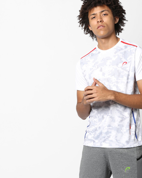 Crew-Neck Sublimation Print T-shirt By PROLINE ( White )