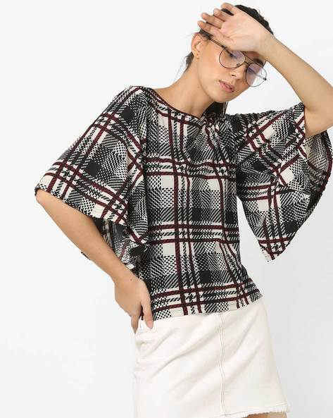 Checked Top With Flared Sleeves By And ( Black )