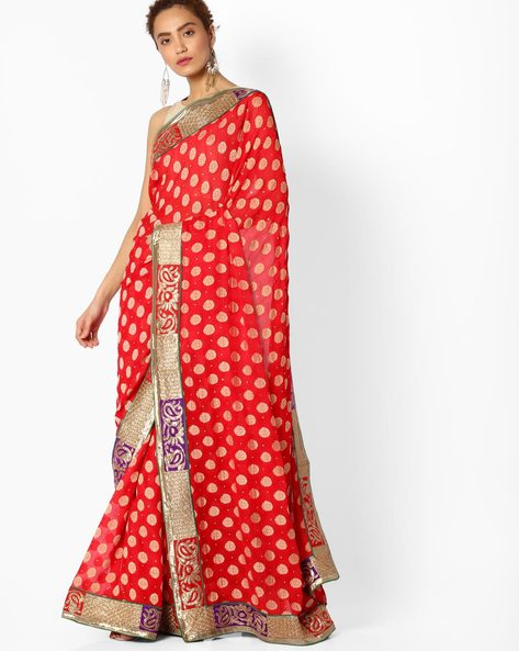 Embroidered Saree With Contrast Border By Majestic Silk ( Maroon )