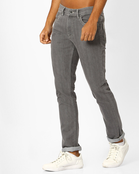 Tapered Slim Fit Stretch Jeans By AJIO ( Grey )