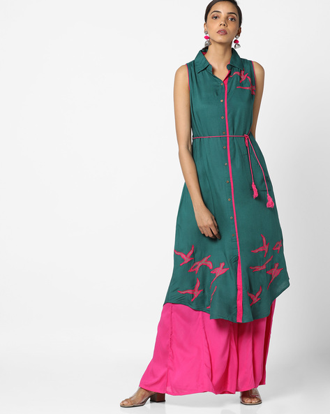 Embroidered Straight Kurta With Waist Tie-Up By Bitterlime ( Teal )