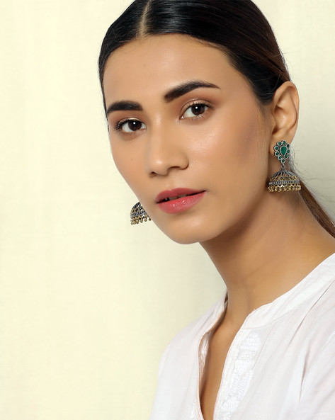 Two-Toned Brass Jhumkas By Indie Picks ( Multi )