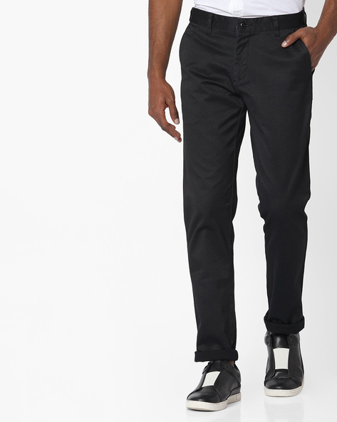 Mid-Rise Flat- Front Chinos By British Club ( Black )
