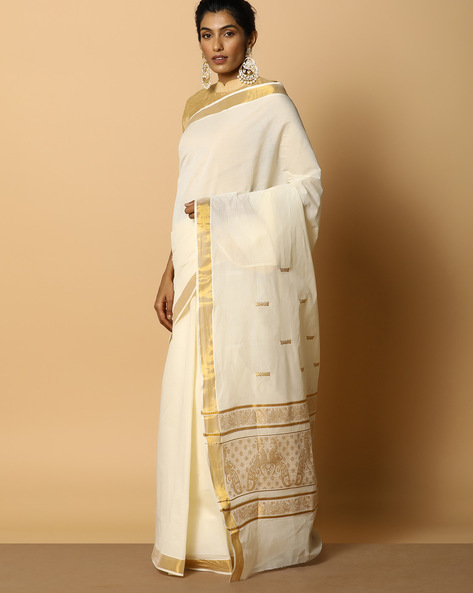 Kerala Kasavu Cotton Saree With Ornate Pallu And Buti By Indie Picks ( Offwhite ) - 460104577001