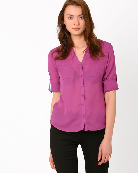 Sheer Shirt By PrettySecrets ( Purple )