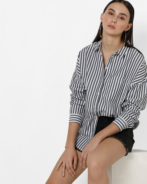 Striped Shirt With Drop-Shoulders By Only ( Grey )