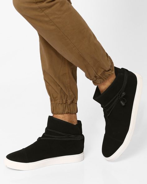 Faux Leather Sneakers With Cord Wrap By AJIO ( Black )