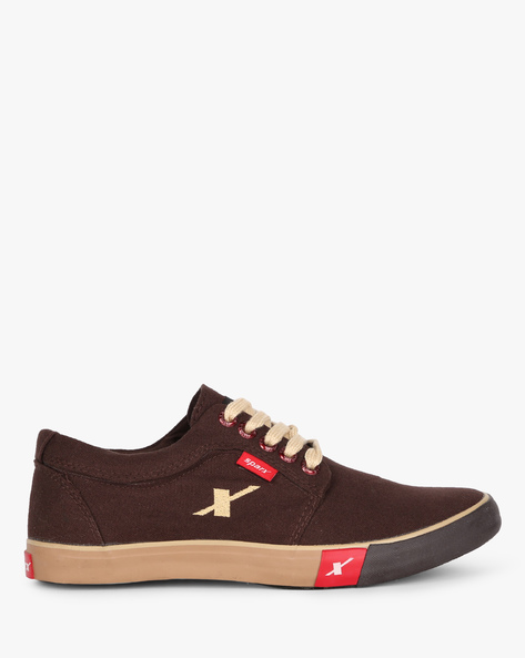 Low-Top Canvas Shoes With Lace-Ups By SPARX ( Brown )