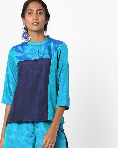 Panelled Top With Mandarin Collar By Project Eve IW Fusion ( Blue )