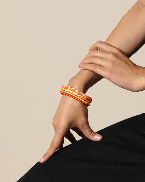 Set Of 3 Hand Embroidered Ikat Cotton & Silk Thread Bangles By PADMAHASTHA ( Multi )