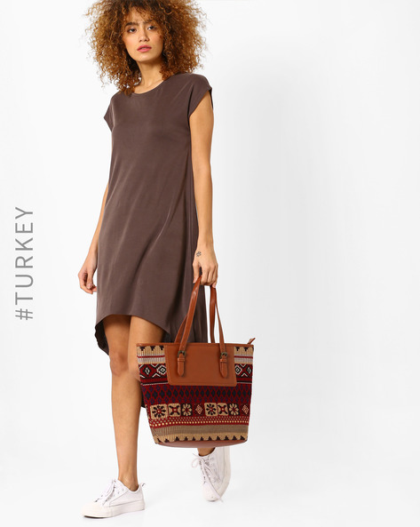 High-Low Dress With Cap Sleeves By BATIK ( Brown )