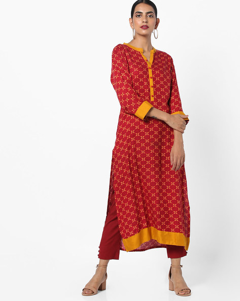 Printed Kurta With Mock Button Placket By Shree ( Maroon )