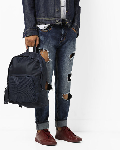 Laptop Backpack With Exterior Mesh Pocket By AJIO ( Grey )