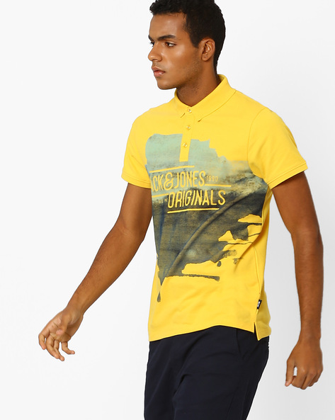 Slim Fit Printed Polo T-shirt By Jack & Jones ( Yellow )