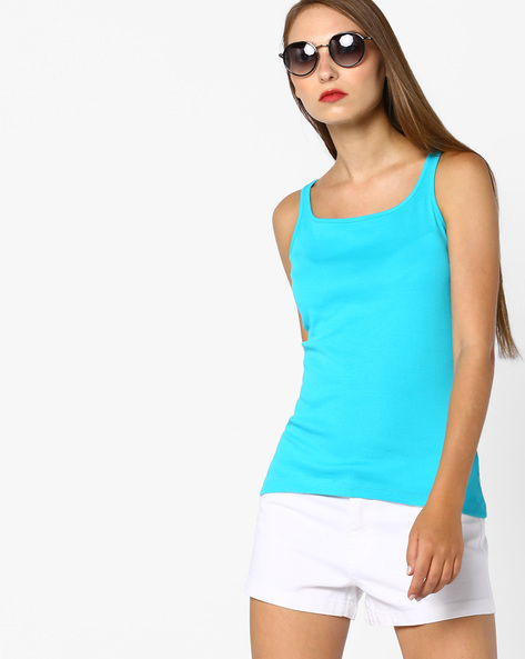 Cotton Tank Top By Ginger By Lifestyle ( Blue )