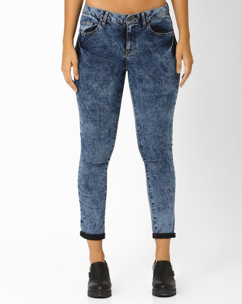 Acid Wash Low Rise Jeans By AJIO ( Lightblue )