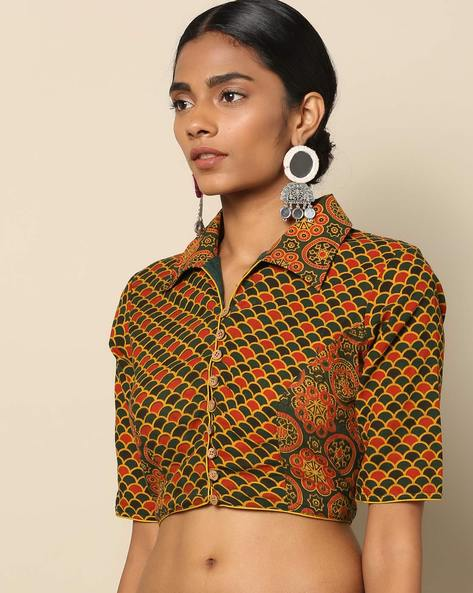 Ajark Printed Cotton Blouse By Indie Picks ( Green ) - 460145708001