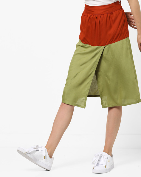 Colourblock Skirt With Front Slit By AJIO ( Olive )