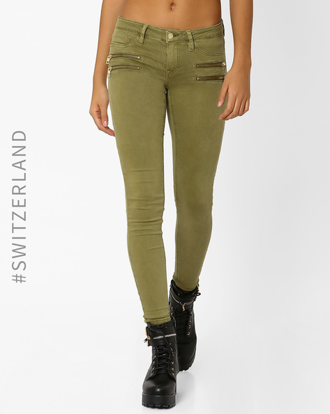 Skinny Trousers With Zip Detail By TALLY WEiJL ( Green )