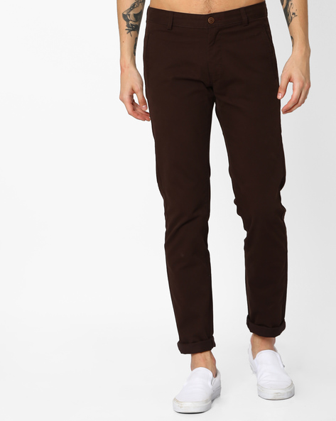 Tapered Fit Stretch Trousers By BASICS ( Brown )