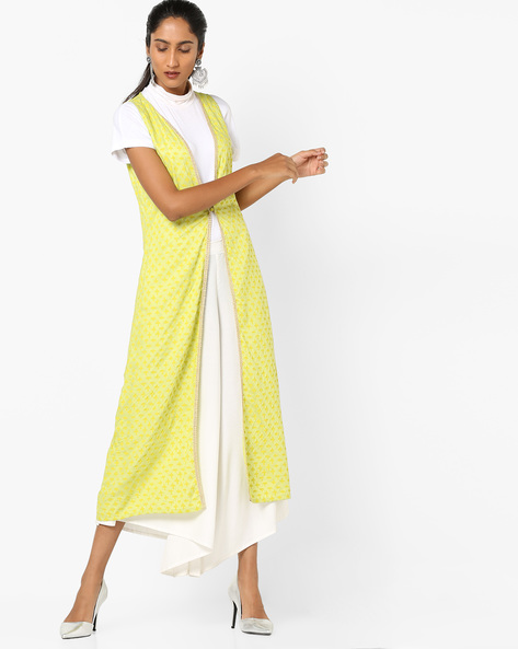 Printed Longline Shrug With Lace Trim By AJIO ( Lime )