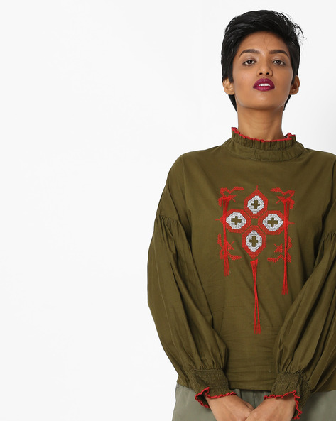 Embroidered Top With Ruffle Collar By Rena Love ( Olive )
