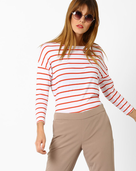 Striped Top With Drop-Shoulder Sleeves By AJIO ( White )