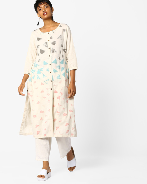 Printed Straight Kurta By Project Eve IW Casual ( Offwhite ) - 440757340003