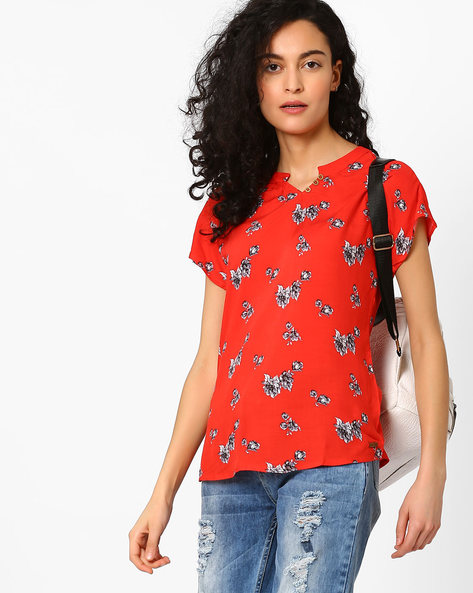 Floral Print Top With Mandarin Collar By DNM X ( Redorange )