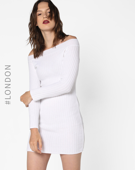 Off-Shoulder Bodycon Dress By Glamorous ( White )
