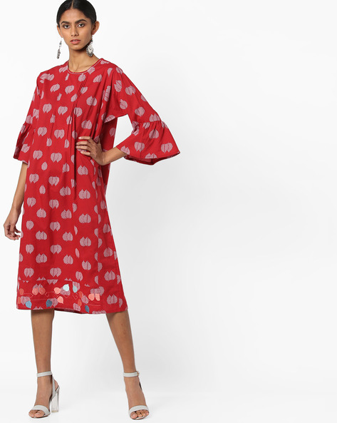 Printed Kurta With Flared Sleeves By AJIO ( Red )