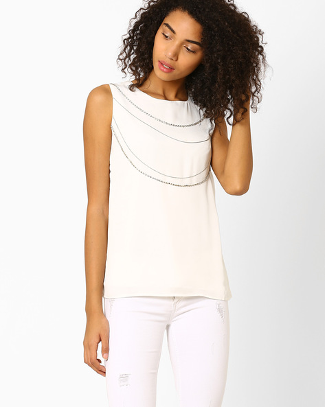 Sleeveless Top With Embellishments By Lotus Threads ( Offwhite )