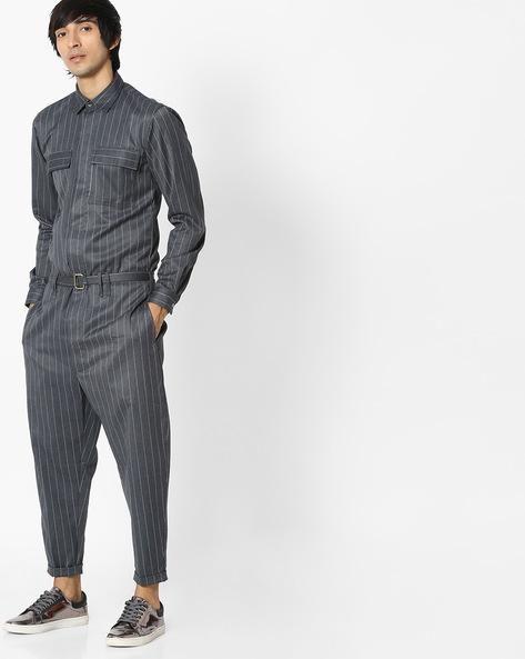 Striped Cotton Jumpsuit With Belt By ANTIFERRO ( Grey )