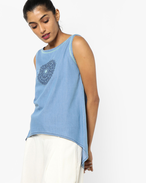 Embroidered Top With High-Low Hemline By AJIO ( Lightblue )