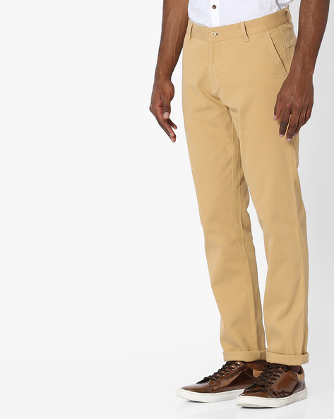 Slim Fit Mid-Rise Chinos By British Club ( Khaki ) - 460138567001