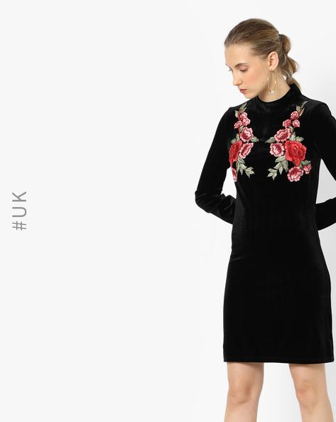 Embroidered Velvet Shift Dress By OEUVRE ( Black )