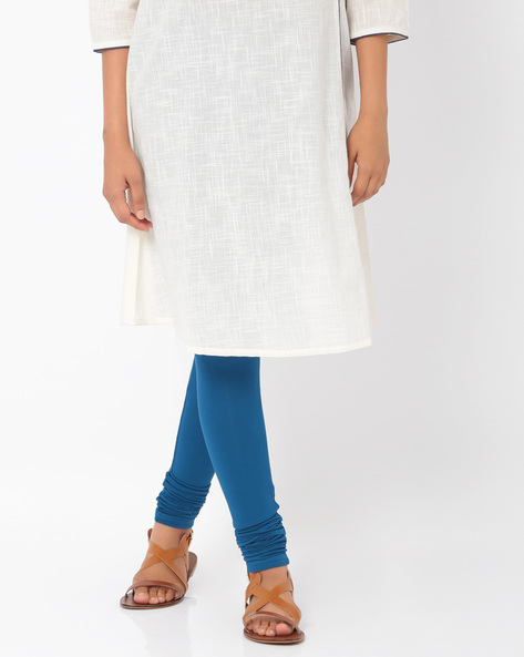 Stretch-Knit Churidar Leggings By AJIO ( Blue )