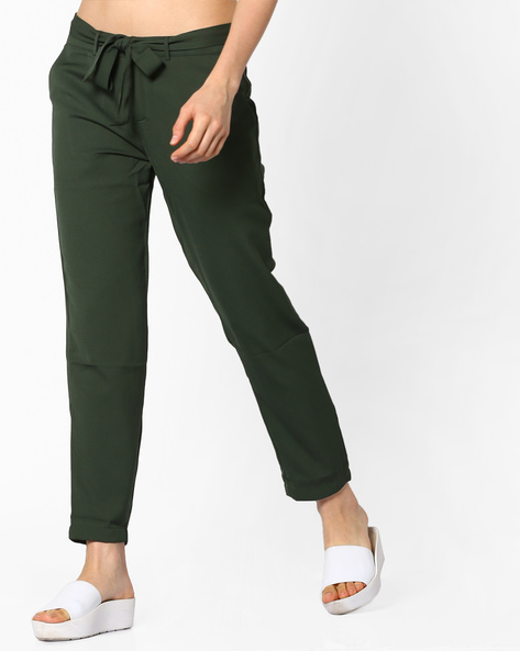Flat-Front Pants With Tie-Up By PE WW Casual ( Olive )