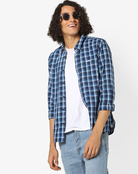 Slim Fit Checked Shirt With Patch Pocket By Pepe Jeans ( Blue )