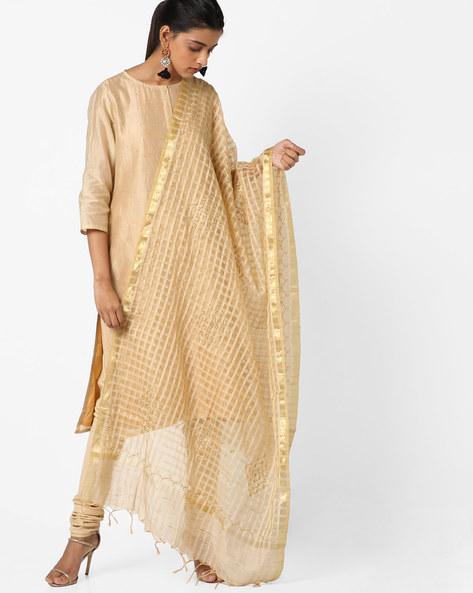Check Cotton Silk Dupatta With Tassels By Dupatta Bazaar ( Beige )
