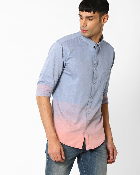 Slim Fit Weft Striped Shirt By BASICS ( Orange )