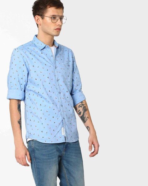 Surf Print Slim FIt Shirt By Lee ( Blue )