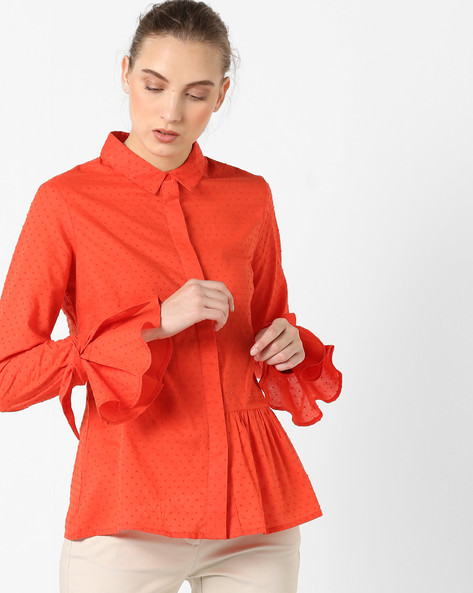 Dobby Weave Shirt With Bell Sleeves By AJIO ( Orange )