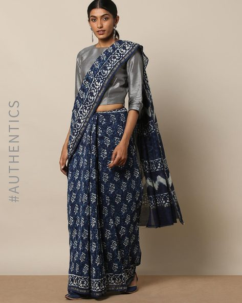 Handblock Indigo Print Chanderi Saree With Zari By Indie Picks ( Indigo ) - 460146821001
