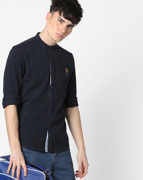 Mandarin Collar Cotton Shirt By US POLO ( Assorted ) - 440760182002